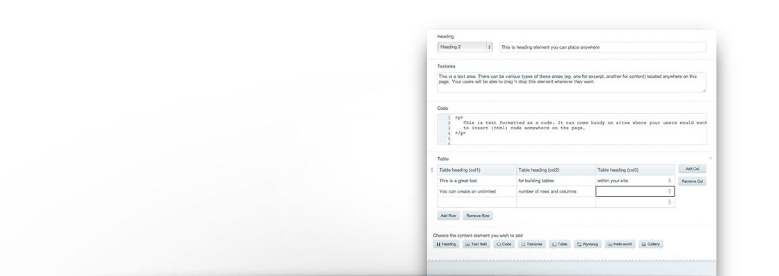 Content Elements publish page example